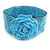 Statement Beaded Flower Stretch Bracelet In Light Blue - 18cm L - Adjustable