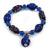 Blue/ Black Glass and Ceramic Bead Charm Flex Bracelet - 19cm Long