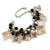 Antique White/ Black Simulated Pearl Bead & Shell Component Charm Bracelet (Silver Tone) - 15cm Long/ 7cm Ext