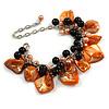 Orange/ Black Simulated Pearl Bead & Shell Component Charm Bracelet (Silver Tone) - 15cm Long/ 7cm Ext