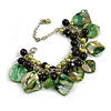 Green/ Black Simulated Pearl Bead & Shell Component Charm Bracelet (Silver Tone) - 15cm Long/ 7cm Ext