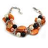 Faux Pearl & Shell - Composite Silver Tone Link Bracelet ( Orange, Black/ Cream) - 16cm L/ 3cm Ext - For Small Wrist Only