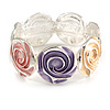 Pastel Multi Enamel Rose Flower Flex Bracelet In Silver Tone - 18cm Long