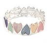 Pastel Multi Enamel Heart Flex Bracelet In Silver Tone - 18cm Long