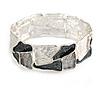 Grey/ Metallic Silver Enamel Geometric Hammered Flex Bracelet In Silver Tone - 20cm Long