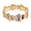 Pastel Multi Enamel Oval Cluster Textured Flex Bracelet In Gold Tone - 18cm Long