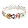 Pastel Multi Enamel Twirl Disc Flex Bracelet In Silver Tone - 18cm Long (Medium)