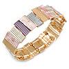 Pastel Multi Enamel Geometric Hammered Flex Bracelet In Gold Tone - 20cm Long
