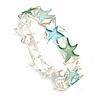 Pastel Green/ Light Blue Enamel Starfish Flex Bracelet in Silver Tone - 20cm Long