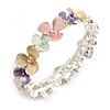 Pastel Multicoloured Enamel Floral Flex Bracelet in Silver Tone - 20cm Long
