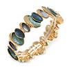 Teal Green/ Blue/ Grey Enamel Oval Cluster Textured Flex Bracelet In Gold Tone - 18cm Long