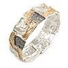 Gold/ Grey/ Metallic Silver Enamel Geometric Hammered Flex Bracelet In Silver Tone - 20cm Long