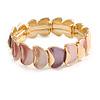 Pink/ Purple Enamel Curly Oval Cluster Textured Flex Bracelet In Gold Tone - 20cm Long