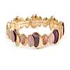 Pink/ Purple Enamel Oval Cluster Textured Flex Bracelet In Gold Tone - 18cm Long