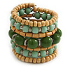 Wide Coiled Ceramic, Acrylic, Wood Bead Bracelet (Mint/ Green/ Natural) - Adjustable