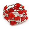 Multistrand Red Glass Heart Bead Coiled Flex Bracelet In Silver Tone - Adjustable