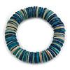 Blue/ White/ Teal Shell Flex Bracelet - 18cm L - Medium