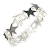 Grey/ White Enamel Starfish Flex Bracelet in Silver Tone - 20cm Long