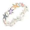 Pastel Multicoloured Enamel Starfish Flex Bracelet in Silver Tone - 20cm Long
