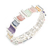 Pastel Multicoloured Enamel Curly Squares Geometric Flex Bracelet in Silver Tone - 20cm Long