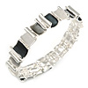 Dark Grey/ Grey/ Metallic Curly Squares Geometric Flex Bracelet in Silver Tone - 20cm Long