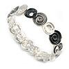 Black/ Grey/ Metallic/ White Enamel Twirl Disc Flex Bracelet In Silver Tone - 18cm Long (Medium)