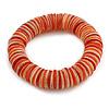 Orange/ Red/ White Shell Flex Bracelet - 18cm L - Medium