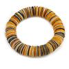 Grey/ Yellow/ White Shell Flex Bracelet - 17cm L - Medium