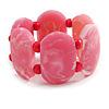Wide Chunky Resin/ Wood Bead Flex Bracelet in Pink/ White - M/ L