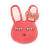 Cute Pink Plastic Bunny Brooch With Crystal Bow