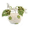 White Simulated Pearl Apple Crystal Brooch
