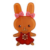 Pretty Ligth Brown Bunny Girl Plastic Brooch