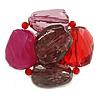 Asymmetrical Red Bold Plastic Brooch