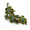 Vintage Olive Green Floral Brooch (Antique Gold)