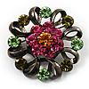 Vintage Crystal Floral Brooch (Black)