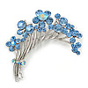 Flower And Butterfly Cluster Crystal Brooch (Sky Blue)