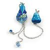 Blue Crystal Enamel Pear Brooch