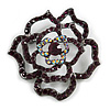 Stunning Violet Crystal Rose Brooch