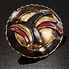 Three-Colour Shield-Shaped Ethnic Brooch (Gold, Red&Brown)