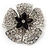 5 Petal Crystal Flower Brooch (Black&Clear)