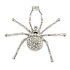 Giant Clear Crystal Spider Brooch