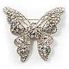 Dazzling Clear Crystal Butterfly Brooch