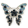Dazzling Navy Blue Crystal Butterfly Brooch (Silver Tone)