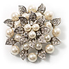 Bridal Faux Pearl Floral Brooch (Light Cream)