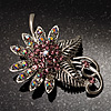 Light Pink Crystal Floral Brooch (Silver Tone)