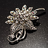 Clear Crystal Floral Brooch (Silver Tone)