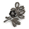 Black Crystal Floral Brooch