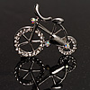 Rhodium Plated Crystal Bicycle Brooch
