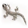 Sparkling Crystal Lizard Brooch