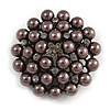 Black Simulated Glass Pearl Corsage Brooch